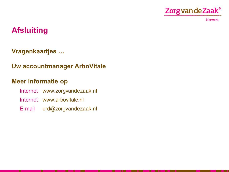 Afsluiting Vragenkaartjes … Uw accountmanager ArboVitale