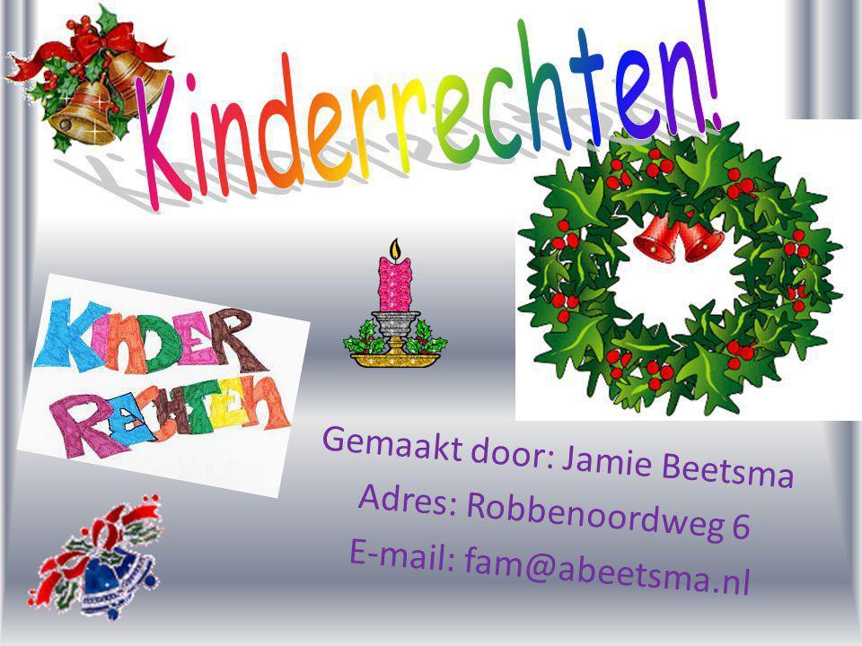 Kinderrechten! Gemaakt door: Jamie Beetsma Adres: Robbenoordweg 6