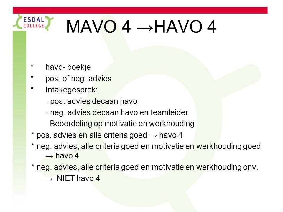 MAVO 4 →HAVO 4