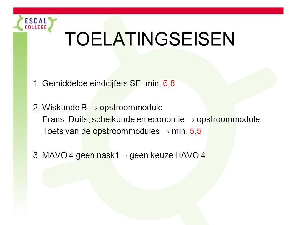 TOELATINGSEISEN 1. Gemiddelde eindcijfers SE min. 6,8