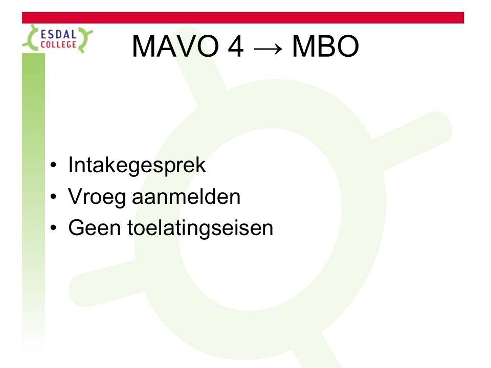 MAVO 4 → MBO Intakegesprek Vroeg aanmelden Geen toelatingseisen