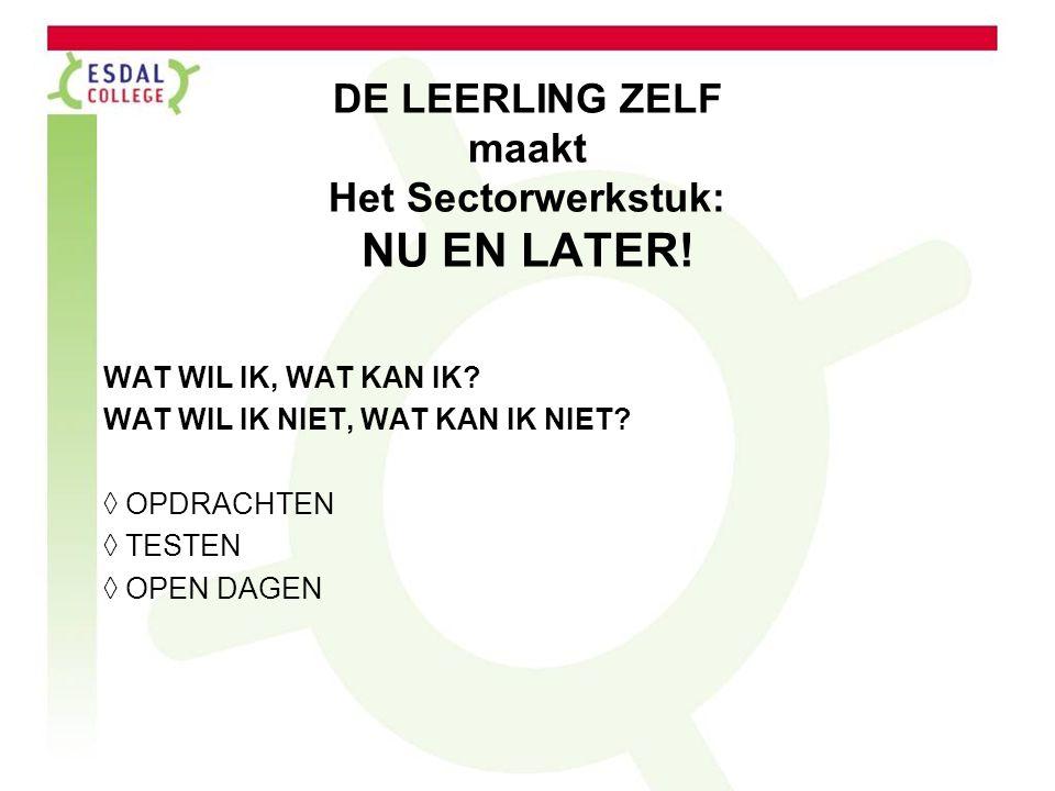 DE LEERLING ZELF maakt Het Sectorwerkstuk: NU EN LATER!