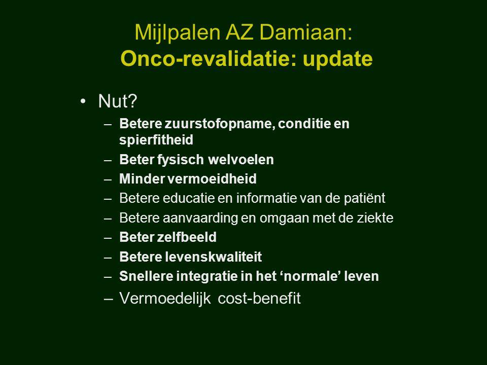Mijlpalen AZ Damiaan: Onco-revalidatie: update
