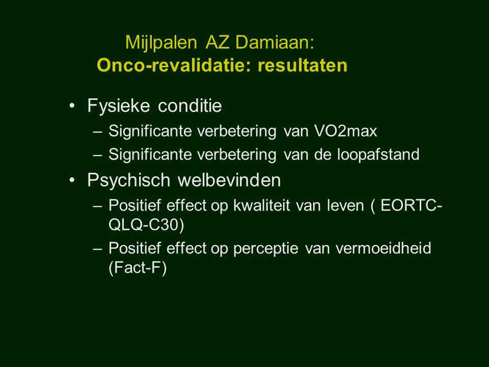 Mijlpalen AZ Damiaan: Onco-revalidatie: resultaten