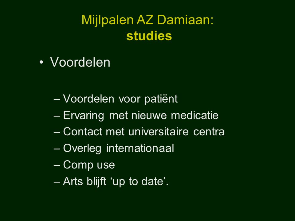 Mijlpalen AZ Damiaan: studies