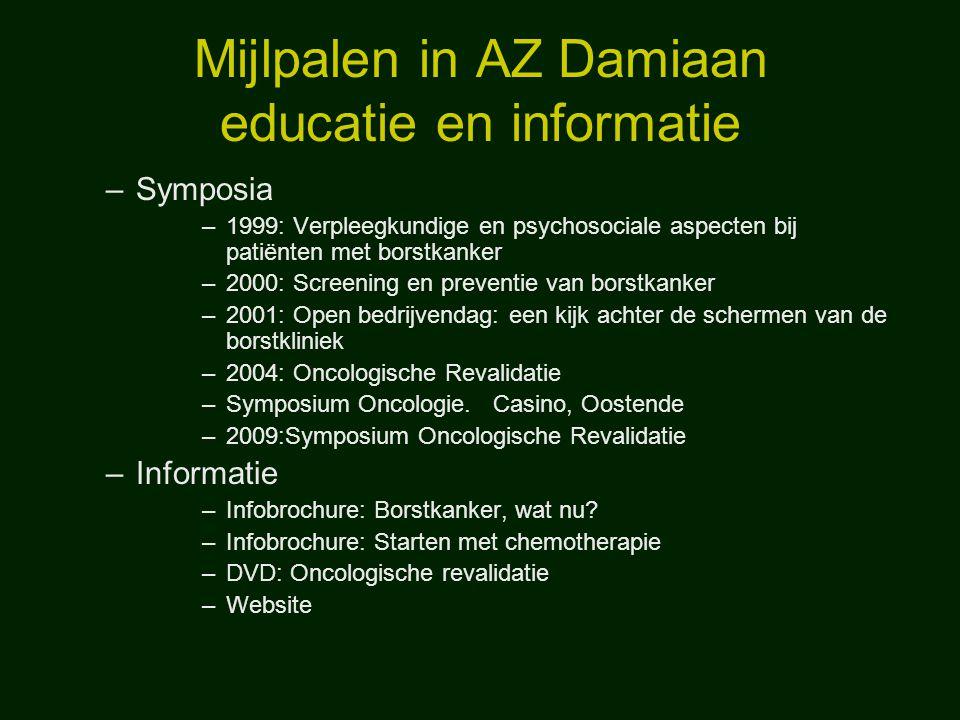 Mijlpalen in AZ Damiaan educatie en informatie