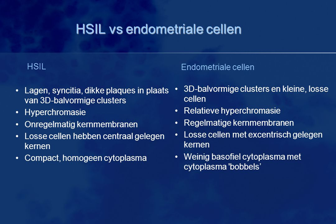 HSIL vs endometriale cellen