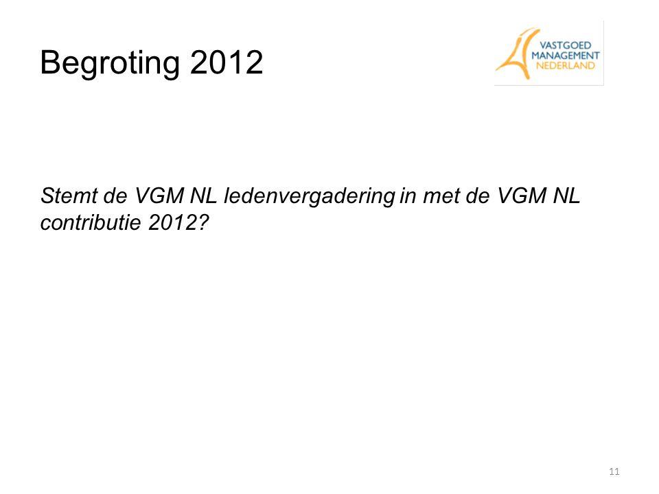 Begroting 2012 Stemt de VGM NL ledenvergadering in met de VGM NL contributie 2012 Eddy