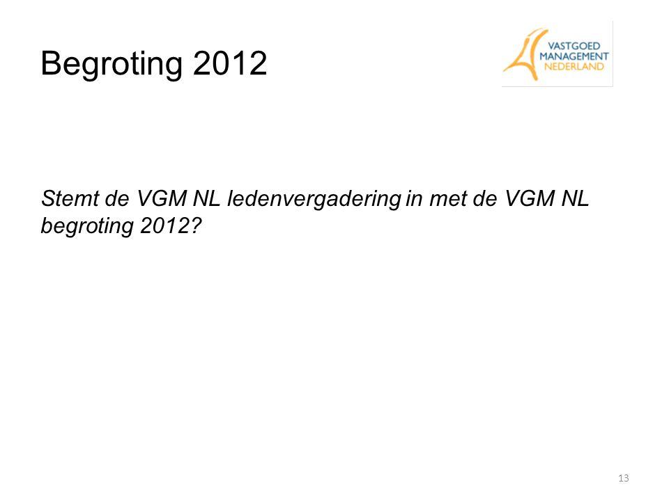 Begroting 2012 Stemt de VGM NL ledenvergadering in met de VGM NL begroting 2012 Eddy