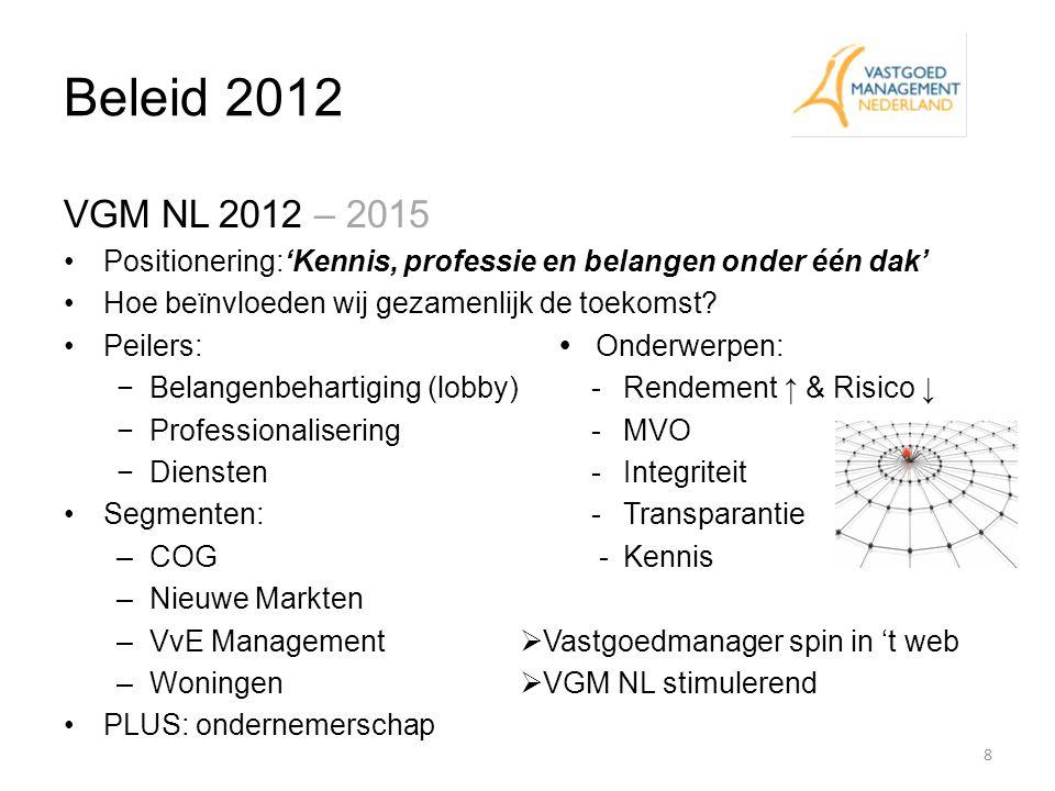 Beleid 2012 VGM NL 2012 – 2015. Positionering:'Kennis, professie en belangen onder één dak' Hoe beïnvloeden wij gezamenlijk de toekomst