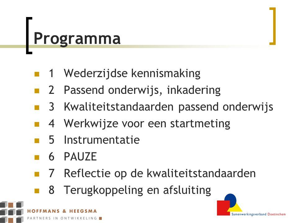 Programma 1 Wederzijdse kennismaking 2 Passend onderwijs, inkadering