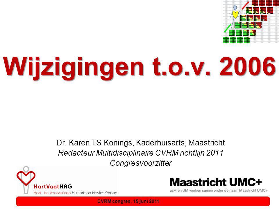 Wijzigingen t.o.v. 2006 Dr. Karen TS Konings, Kaderhuisarts, Maastricht. Redacteur Multidisciplinaire CVRM richtlijn 2011.