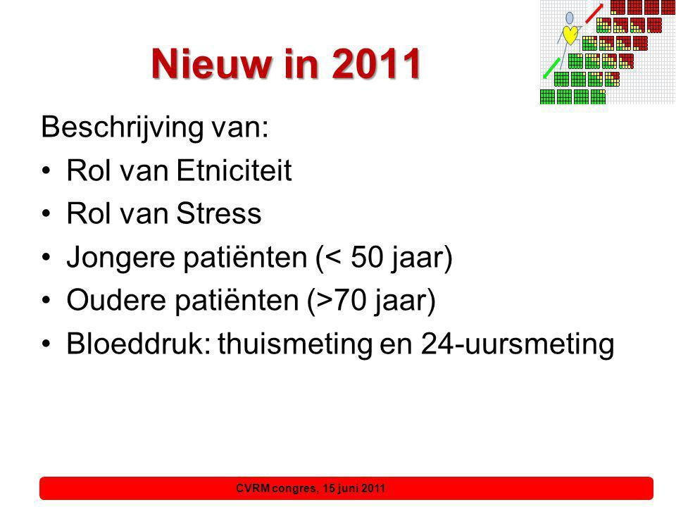 Nieuw in 2011 Beschrijving van: Rol van Etniciteit Rol van Stress