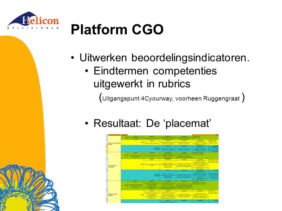 Platform CGO Uitwerken beoordelingsindicatoren.