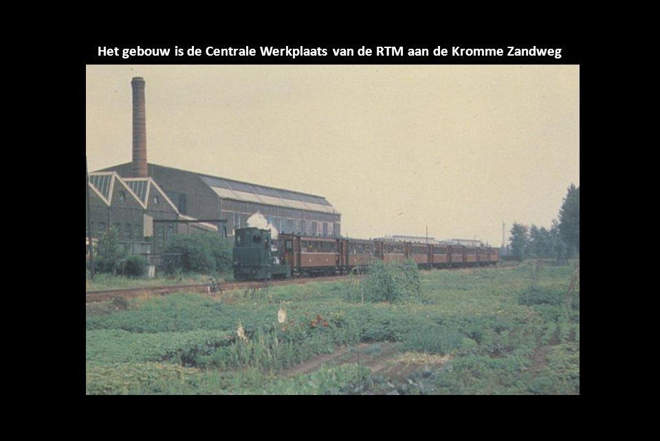 Het gebouw is de Centrale Werkplaats van de RTM aan de Kromme Zandweg