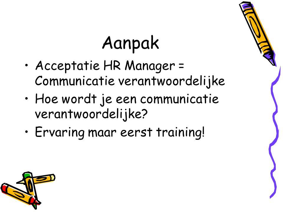Aanpak Acceptatie HR Manager = Communicatie verantwoordelijke