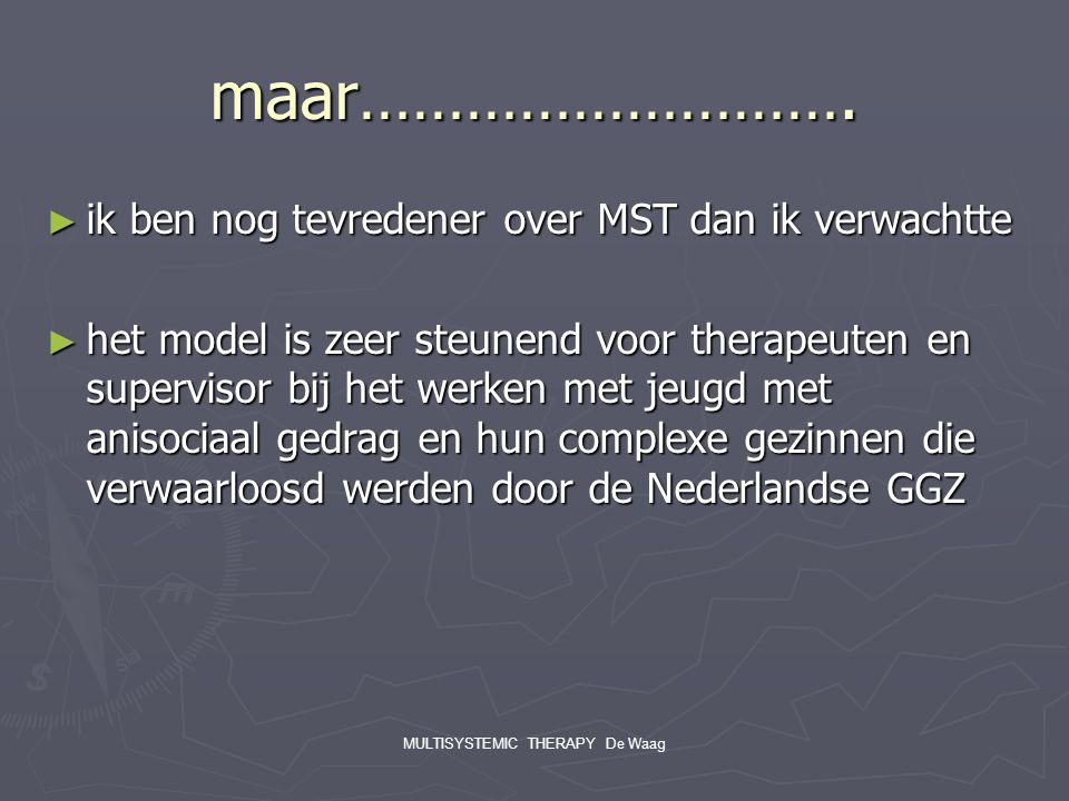 MULTISYSTEMIC THERAPY De Waag
