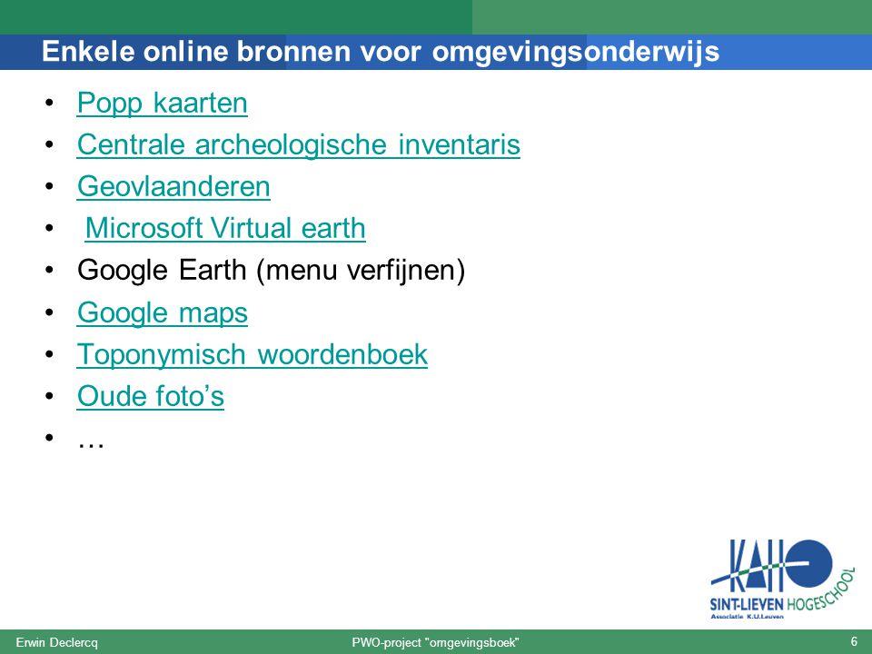 Enkele online bronnen voor omgevingsonderwijs