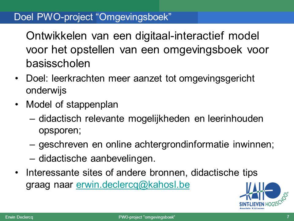 Doel PWO-project Omgevingsboek