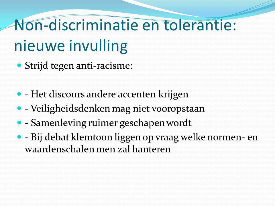 Non-discriminatie en tolerantie: nieuwe invulling