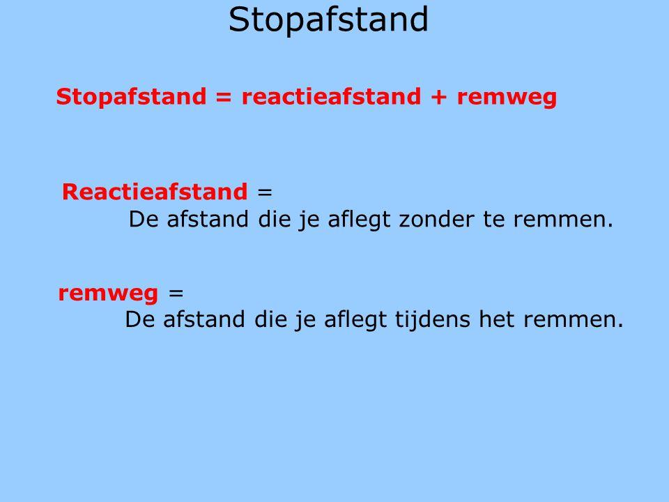 Stopafstand = reactieafstand + remweg