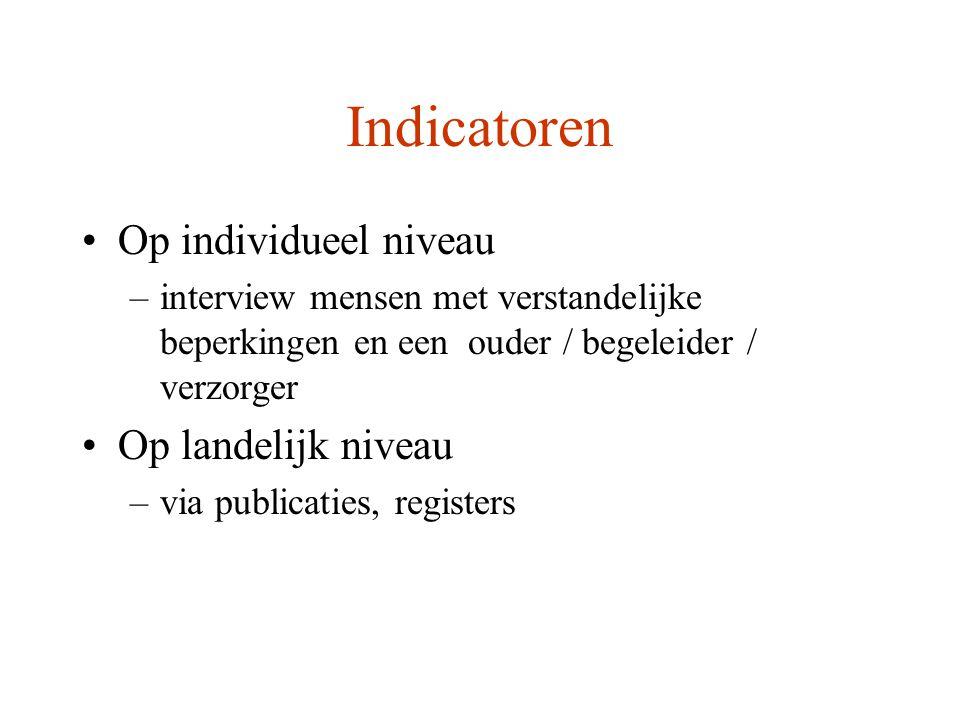 Indicatoren Op individueel niveau Op landelijk niveau