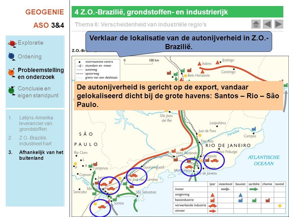 Verklaar de lokalisatie van de autonijverheid in Z.O.-Brazilië.