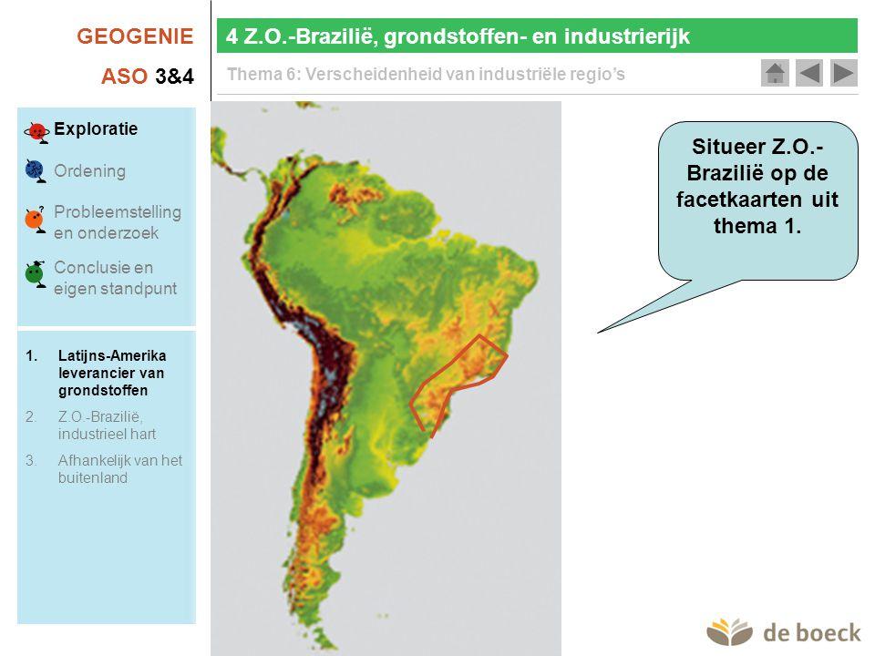 Situeer Z.O.-Brazilië op de facetkaarten uit thema 1.