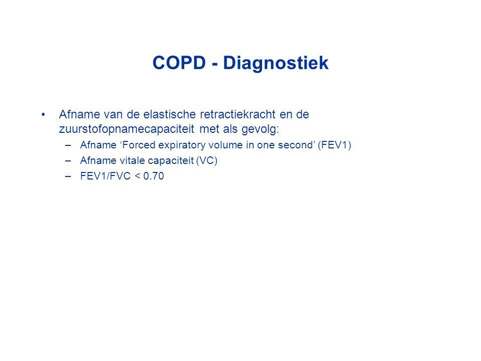 COPD - Diagnostiek Afname van de elastische retractiekracht en de zuurstofopnamecapaciteit met als gevolg: