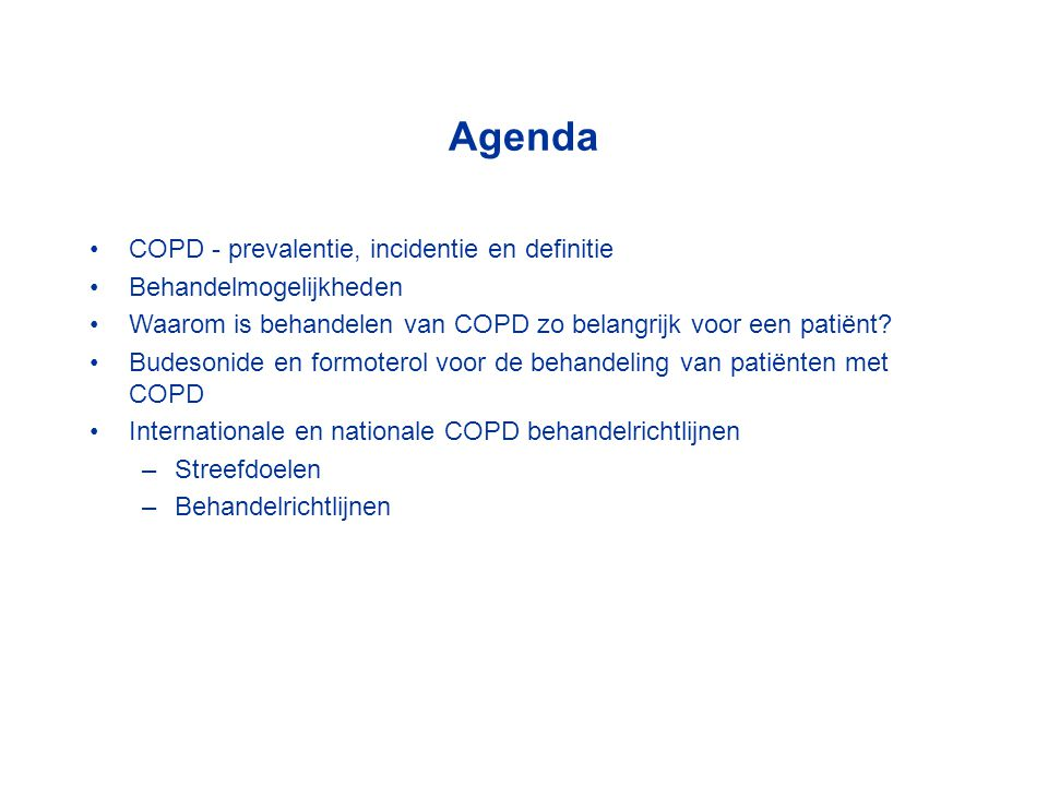 Agenda COPD - prevalentie, incidentie en definitie