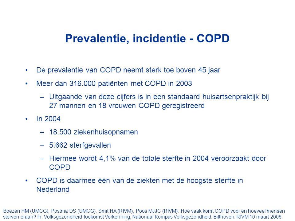 Prevalentie, incidentie - COPD