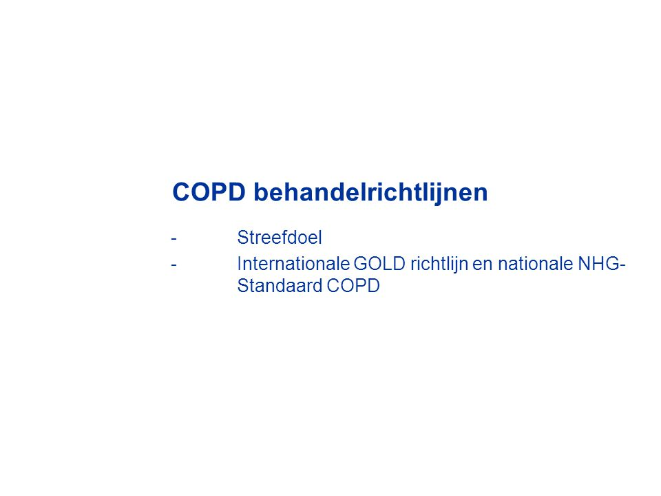 COPD behandelrichtlijnen