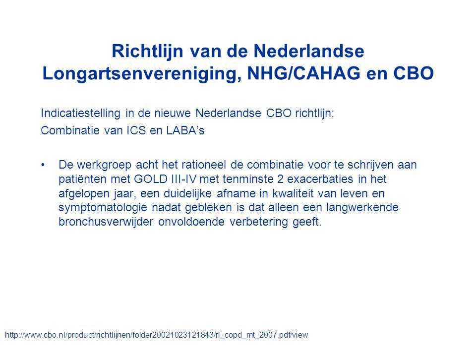 Richtlijn van de Nederlandse Longartsenvereniging, NHG/CAHAG en CBO