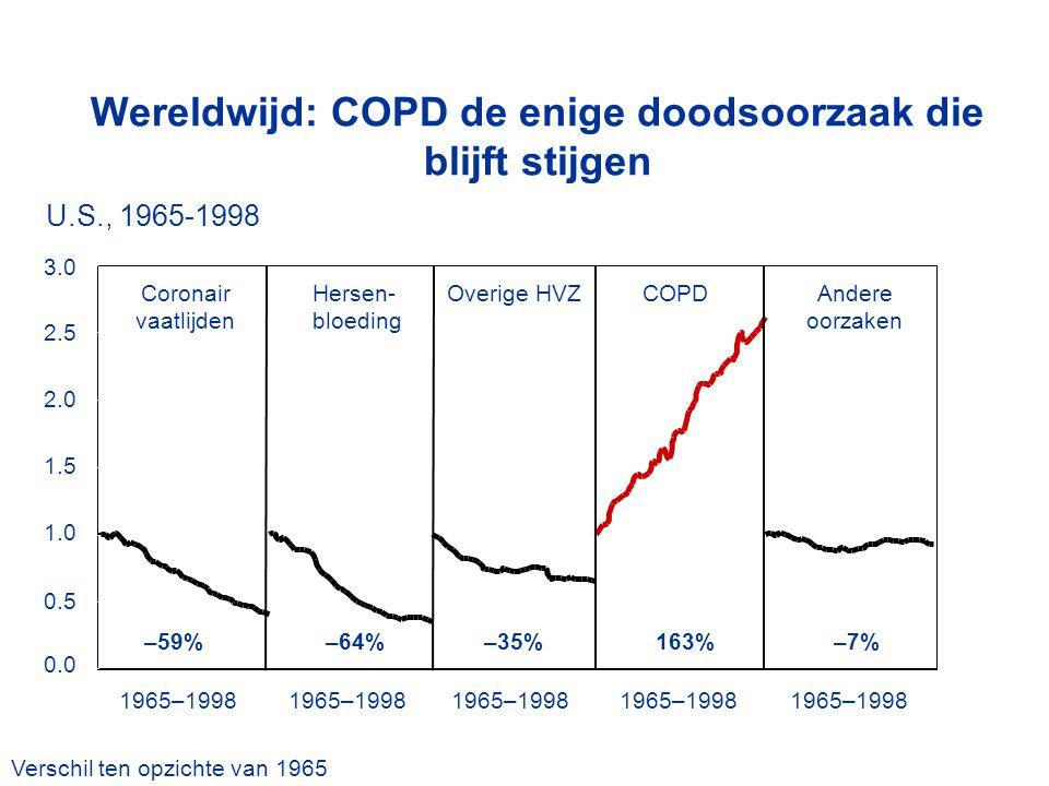 Wereldwijd: COPD de enige doodsoorzaak die blijft stijgen