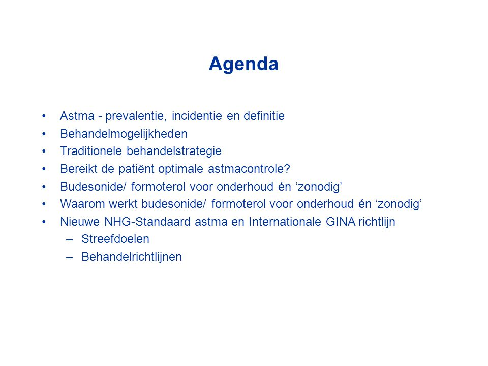 Agenda Astma - prevalentie, incidentie en definitie