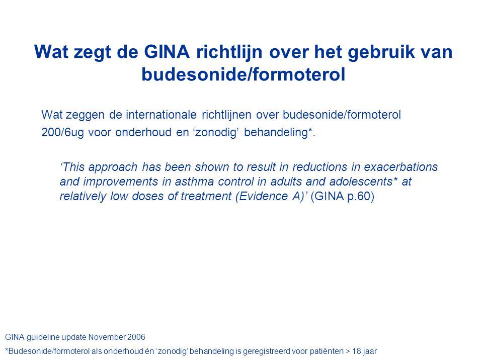 Wat zegt de GINA richtlijn over het gebruik van budesonide/formoterol