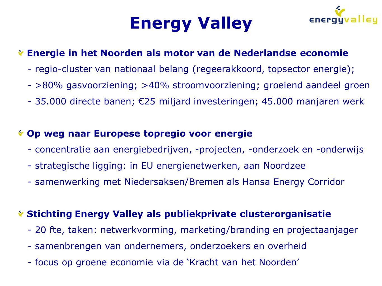 Energy Valley Energie in het Noorden als motor van de Nederlandse economie. - regio-cluster van nationaal belang (regeerakkoord, topsector energie);