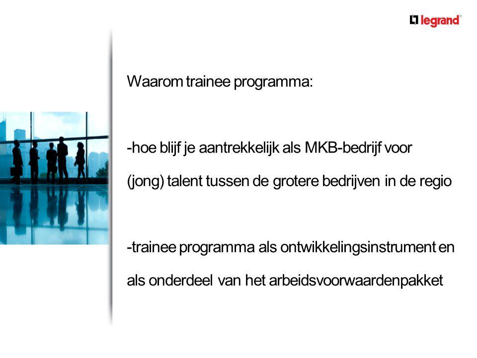 Waarom trainee programma: -hoe blijf je aantrekkelijk als MKB-bedrijf voor (jong) talent tussen de grotere bedrijven in de regio -trainee programma als ontwikkelingsinstrument en als onderdeel van het arbeidsvoorwaardenpakket