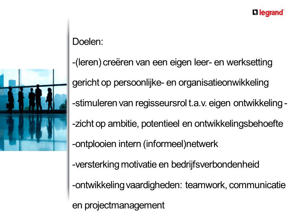 Doelen: -(leren) creëren van een eigen leer- en werksetting gericht op persoonlijke- en organisatieonwikkeling -stimuleren van regisseursrol t.a.v.