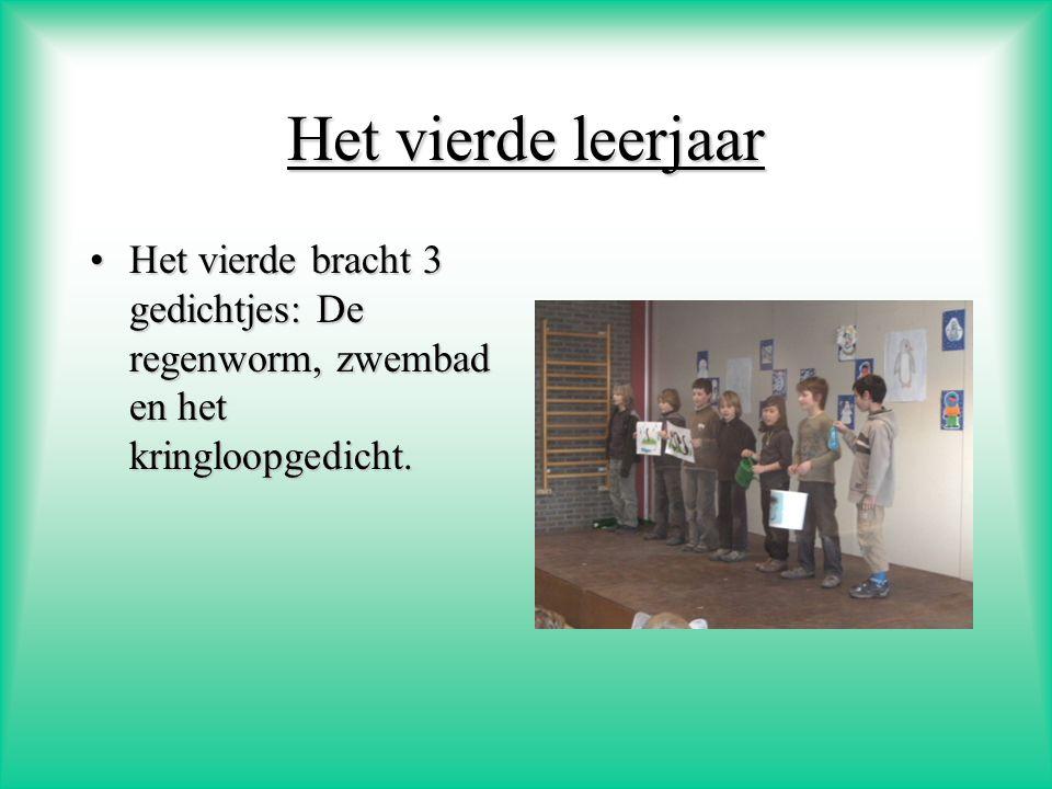 Het vierde leerjaar Het vierde bracht 3 gedichtjes: De regenworm, zwembad en het kringloopgedicht.
