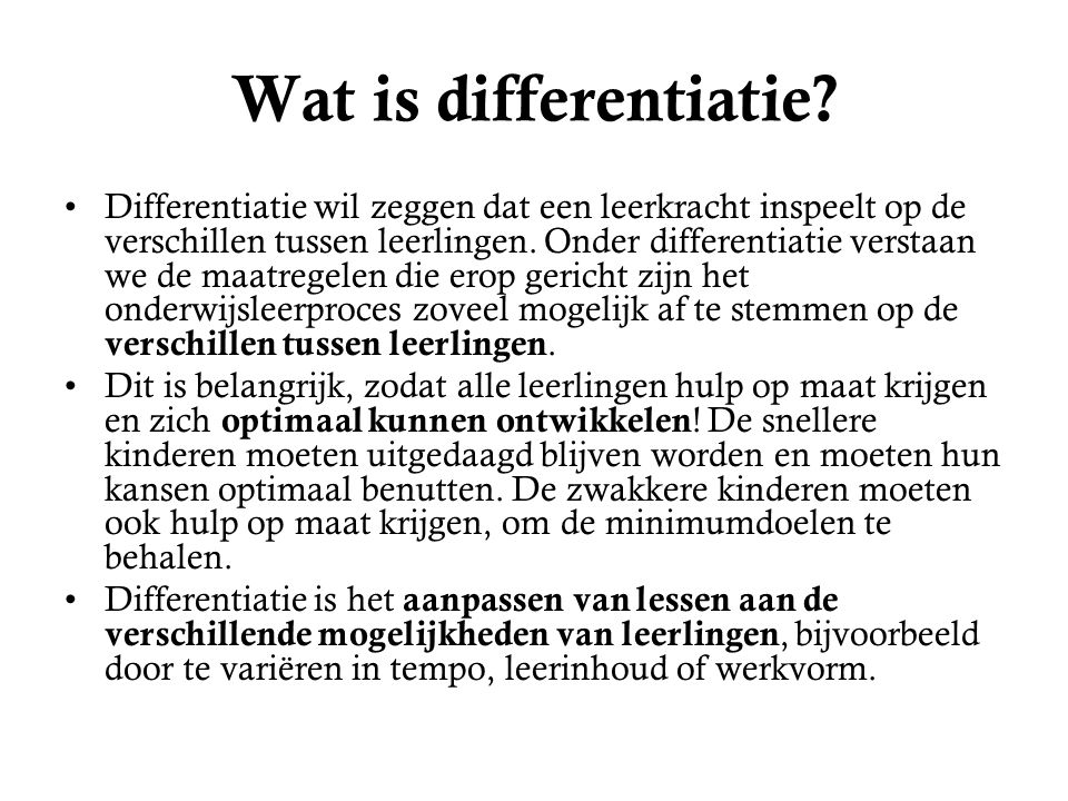 Wat is differentiatie