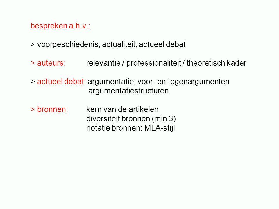 bespreken a.h.v.: > voorgeschiedenis, actualiteit, actueel debat. > auteurs: relevantie / professionaliteit / theoretisch kader.
