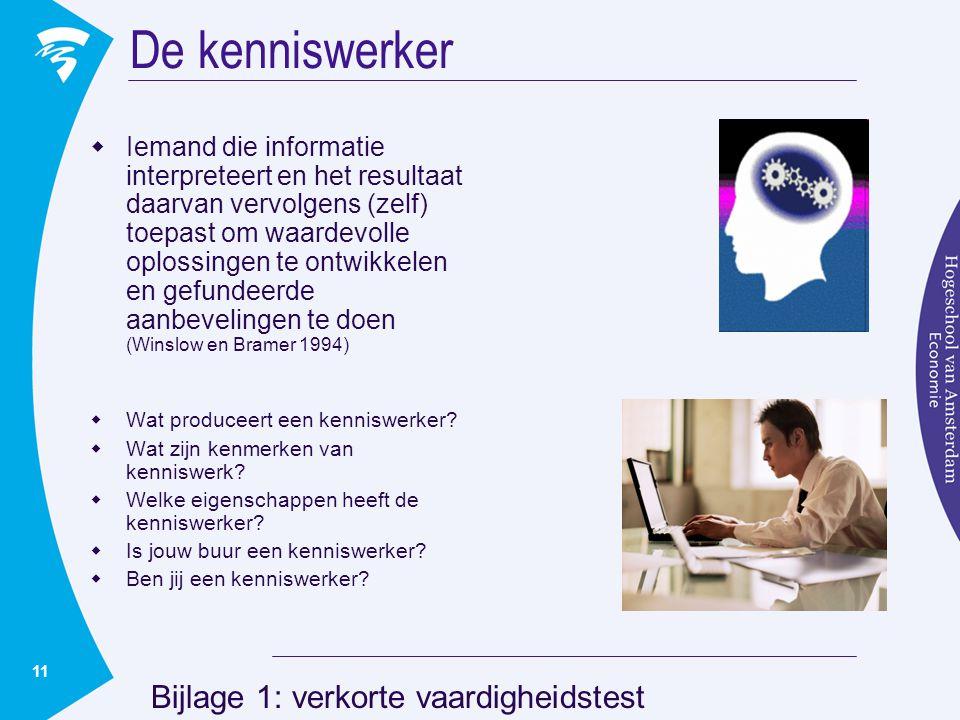 De kenniswerker Bijlage 1: verkorte vaardigheidstest