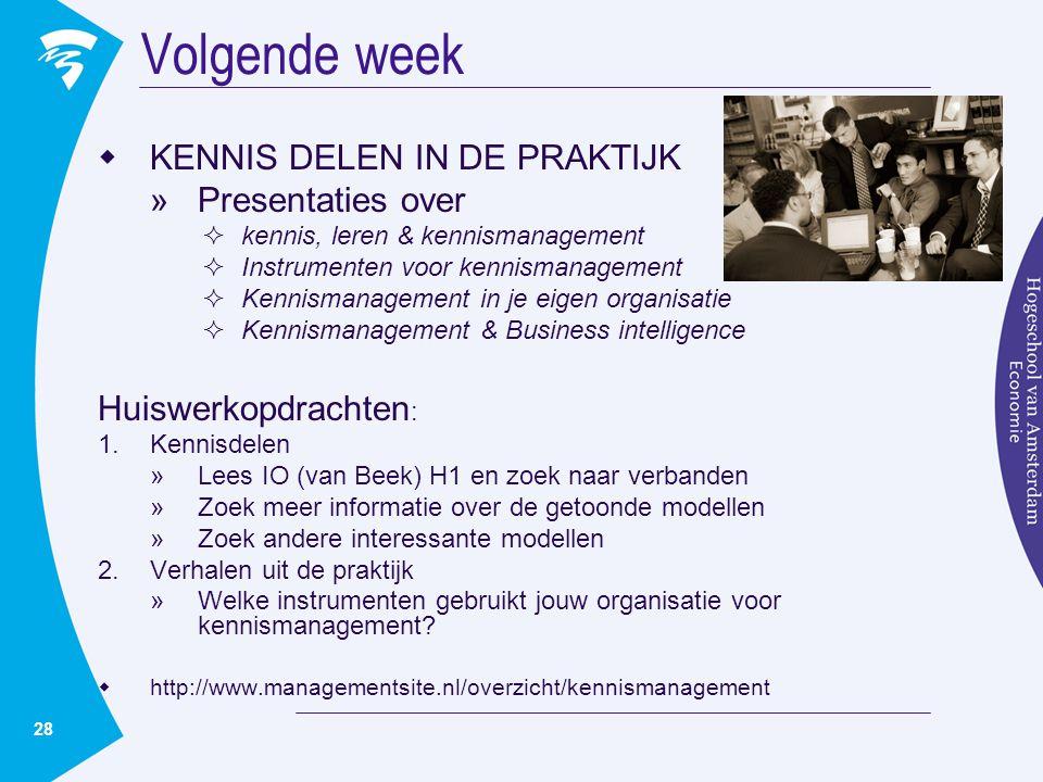 Volgende week KENNIS DELEN IN DE PRAKTIJK Presentaties over
