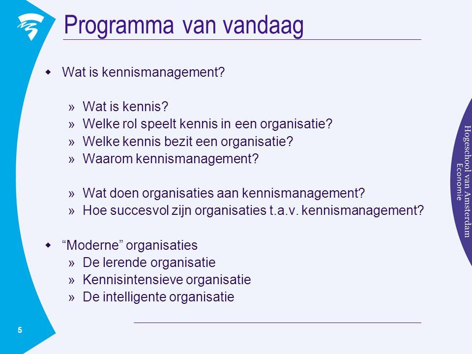 Programma van vandaag Wat is kennismanagement Wat is kennis