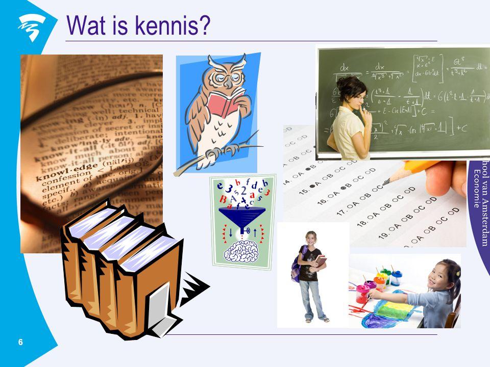 Wat is kennis Neem een activiteit in gedachten vanuit jouw werksituatie … Welke kennis heb je nodig om …