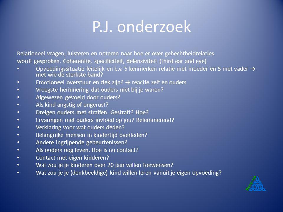 P.J. onderzoek Relationeel vragen, luisteren en noteren naar hoe er over gehechtheidrelaties.