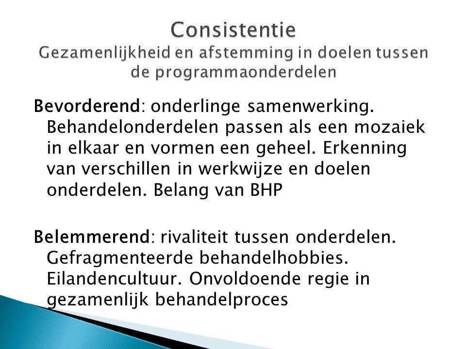 Consistentie Gezamenlijkheid en afstemming in doelen tussen de programmaonderdelen