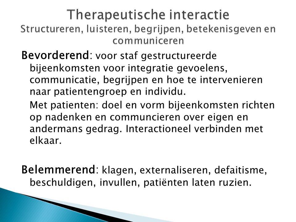 Therapeutische interactie Structureren, luisteren, begrijpen, betekenisgeven en communiceren