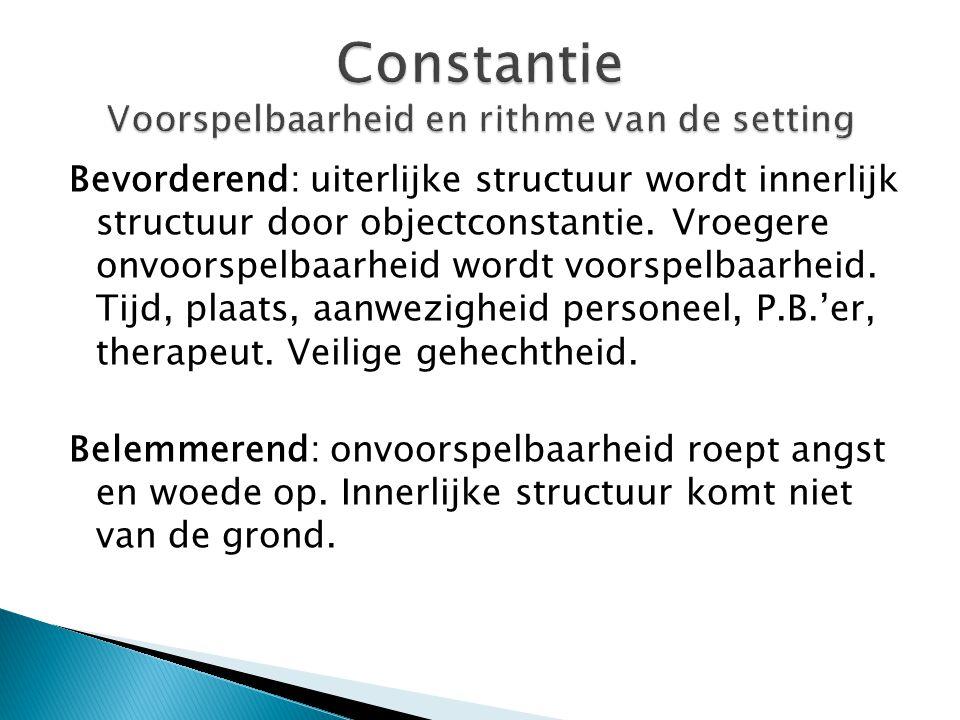 Constantie Voorspelbaarheid en rithme van de setting